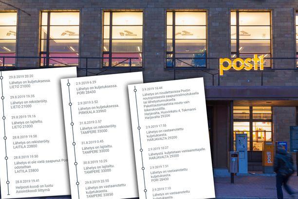 Päivin postipaketti kävi muun muassa Liedossa ja Tampereella ennen kuin se päätyi Harjavaltaan.