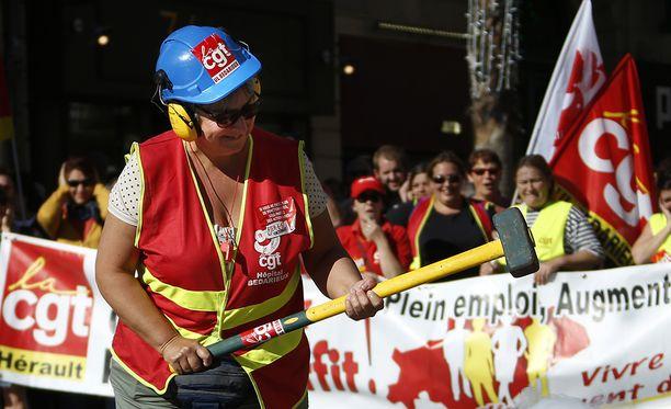 Julkisen sektorin työntekijät osoittivat mieltään myös Montpellierissä eteläisessä Ranskassa.