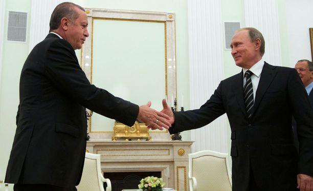 Recep Tayyip Erdogan ja Vladimir Putin viime vuoden syyskuussa Kremlissä.