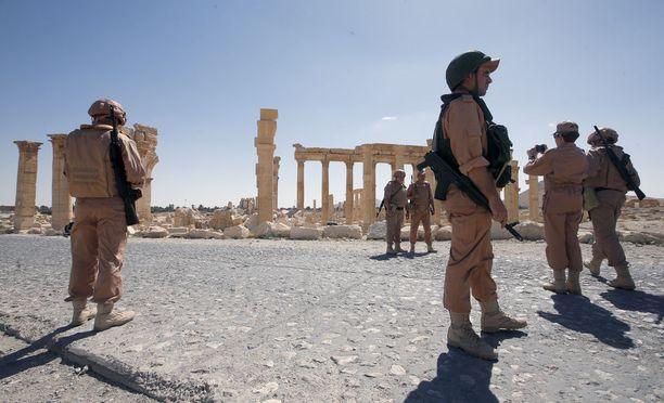 Venäläisiä sotilaita Palmyrassa toukokuussa.
