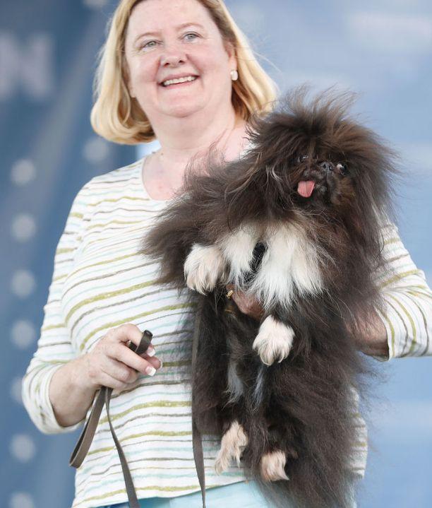 Ann Lewis ja kaksivuotias kiinanpalatsikoira Wild Thang. Wild Thangin toinen etujalka vipattaa jatkuvasti, vaikka koira olisi unessa.