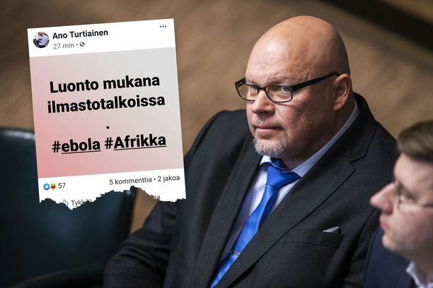Kansanedustaja Ano Turtiainen (ps) ärsyyntyi ebolaepidemiaa käsittelevästä uutisesta.