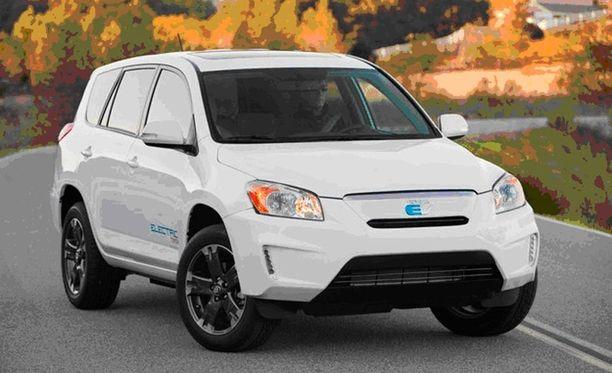 PUOLIKSI TESLA Toyota RAV4 EV kulkee 160 kilometriä sähköllä.