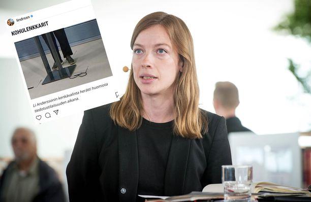 Li Andersson ihmetteli, miksi hänen likaisiin lenkkitossuihin on kiinnitetty huomiota.