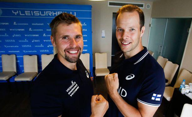 Antti Ruuskanen (vas.) ja Tero Pitkämäki ovat monivuotisia kilpakumppaneita.