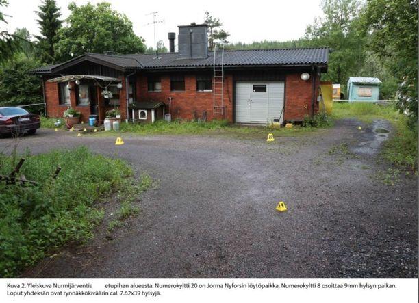 Nyfors surmasi itsensä kotitalonsa autotallin oven eteen. Poliisin mukaan Nyfors surmasi itsensä lähes välittömästi haavoittumisensa jälkeen.
