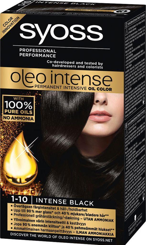 Schwarzkopf Syoss Oleo Intense, sävy 1-10 Intense Black. 10 €.