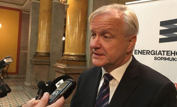 Olli Rehn jätti hetkeksi energia-alan seminaarin kesken perjantaina kommentoidakseen valintaansa Suomen Pankin johtokuntaan.