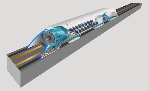 Hyperloop voisi kuljettaa ihmisiä esimerkiksi Helsingistä Tallinnaan noin vartissa.
