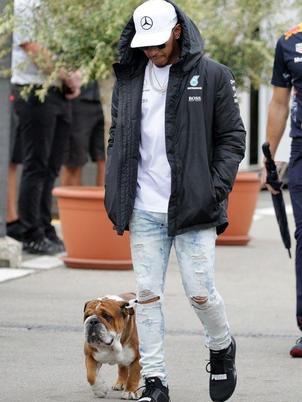 Hamilton ottaa koiransa toisinaan mukaan F1-varikolle.
