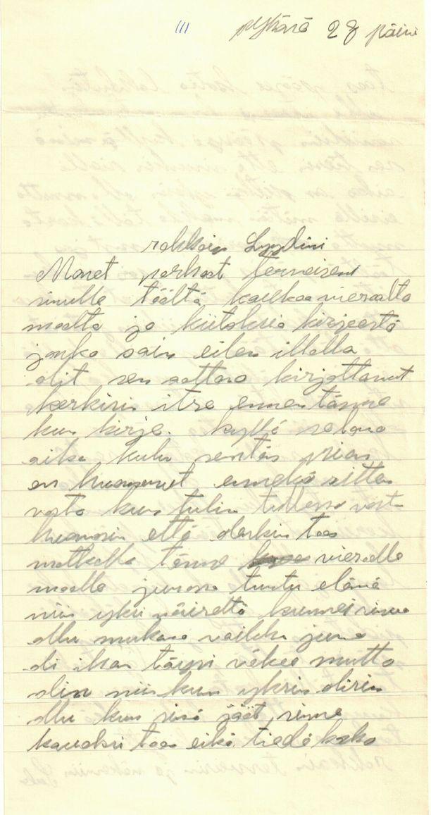 Esimerkki kirjeestä, jonka Sulo Porttikivi lähetti puolisolleen.