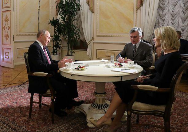 Vladimir Putin NBC-televisiokanavan haastattelussa, jossa hän osoitti syyttävän sormensa vähemmistöihin, kun puheeksi tuli Yhdysvaltain presidentinvaaleihin vaikuttaminen.