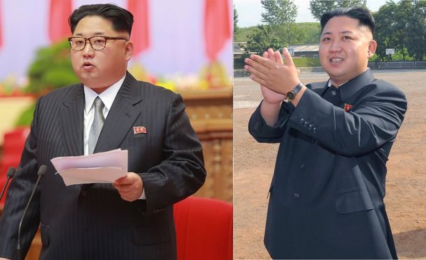 Kim Jong-un vuonna 2016 ja tiettävästi vuonna 2012 otetussa kuvassa.