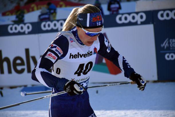 Anne Kyllösen sprintin aika-ajo tiistaina Sveitsissä päättyi sijalle 61.