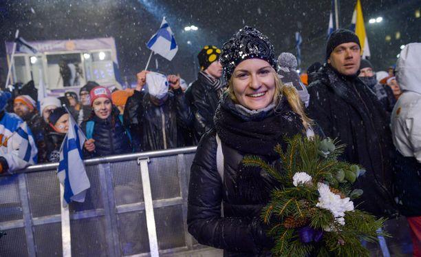 Iivo Niskasen puoliso Saana Kemppainen sai torstaina todistaa jo kolmatta Niskasen perheen MM-mitalia Lahdesta.