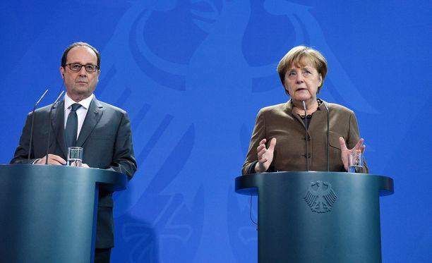 Ranskan presidentti Francois Hollande ja Saksan liittokansleri Angela Merkel kommentoivat Venäjän vastaisia pakotteita.