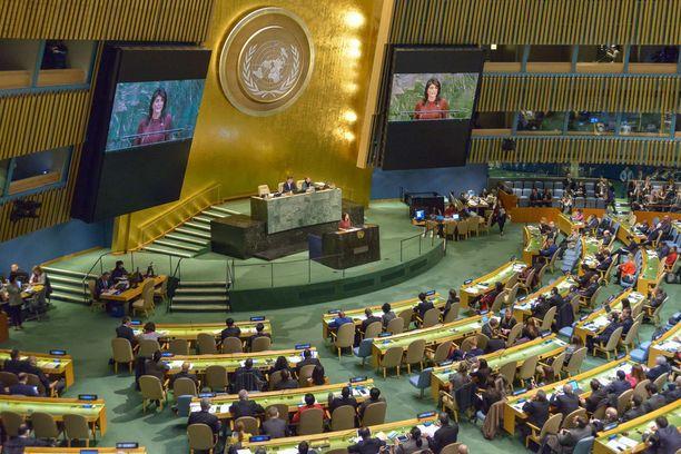 YK:n yleiskokous tuomitsi Trumpin päätöksen.
