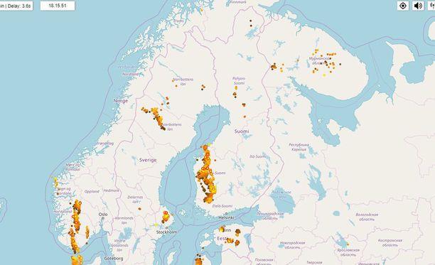 Salamakäärme tuo Länsi-Suomeen rajujakin ukkosia.