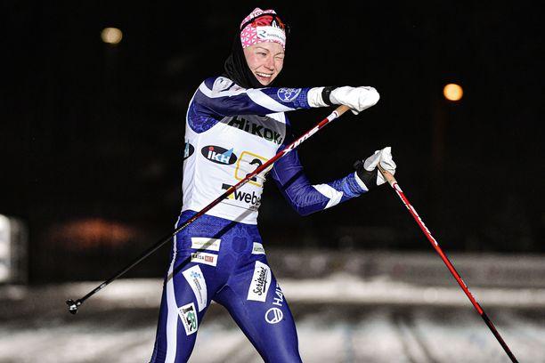 Anne Kyllönen iski voittajana silmää.