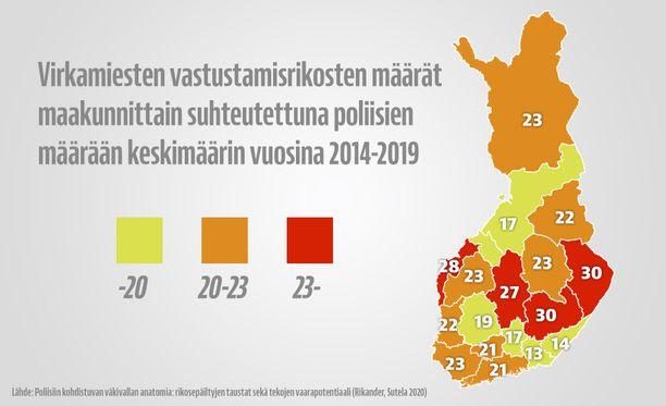 Graafi kertoo rikostapausten ilmaantuvuuden jokaista sataa poliisia kohti. Suurten kaupunkien Uusimaa ja Pirkanmaa eivät nousseet poliisivastaisimpien maakuntien joukkoon.