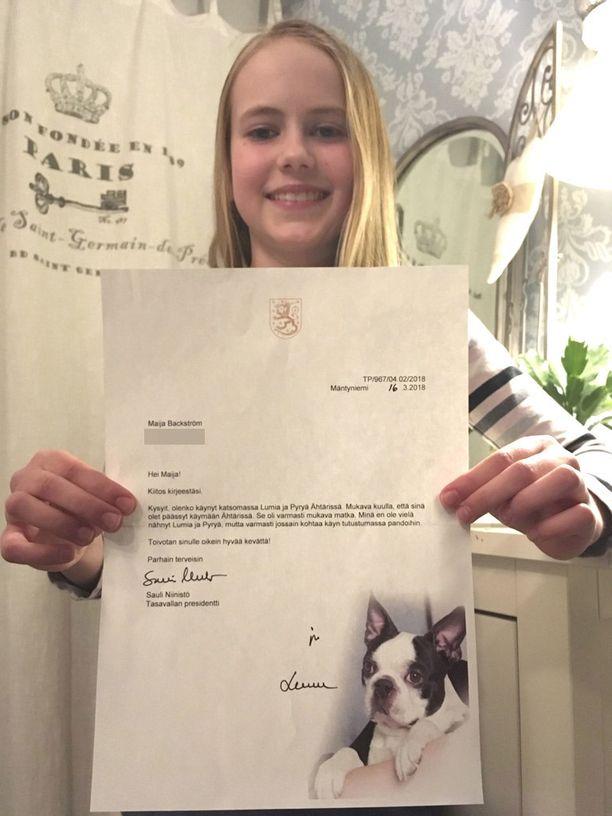 12-vuotias Maija ei lainkaan osannut odottaa vastausta presidentiltä.