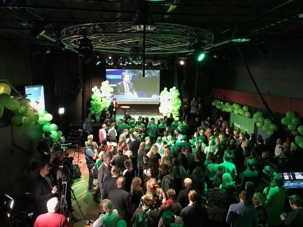 Vihreiden vaalivalvojaisia vietetään Helsingin Tavastialla.