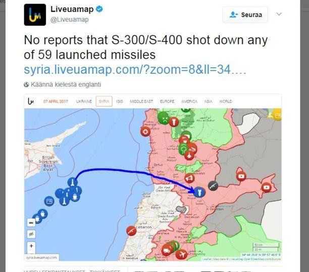 Syyrian ilmapuolustus ei verkkosivusto Liveuamap.com:in mukaan pudottanut yhtään risteilyohjusta. Syyriassa on Venäjän S-300 ja S-400 ilmatorjuntaohjuspatteristoja. Kartalla on karkea kuva risteilyohjusten laukaisupaikasta Välimerellä ja iskun kohteena ollut syyrialainen lentotukikohta.