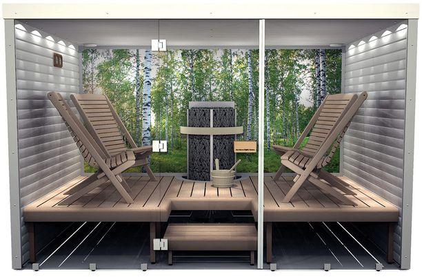 Nothern Lights Saunan elementtirakenteinen luksussauna on asennettavissa myös jälkikäteen.
