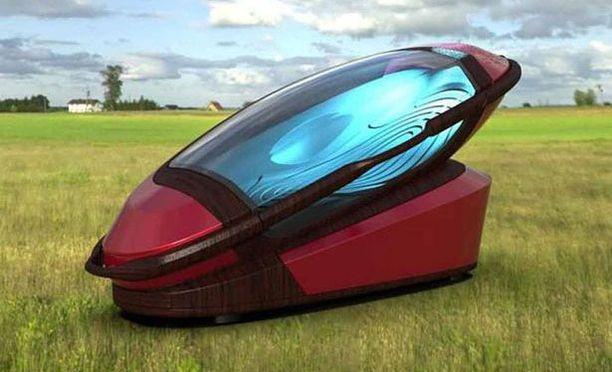 Eutanasiakoneen kapselia voi käyttää myös ruumisarkkuna. Se on valmistettu biohajoavasta materiaalista.