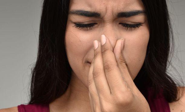 Nenää kutittaa, aivastuttaa, on tukkoinen olo ja väsyttää. Syynä voi olla koivuallergia.