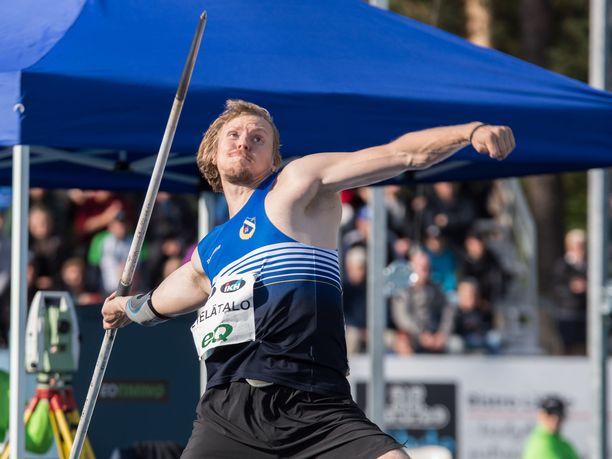 Lassi Etelätalo oli Espoossa paras suomalainen miesten keihäänheitossa.