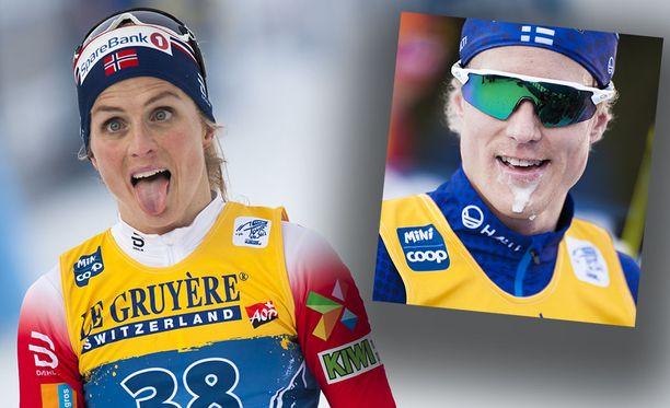 Therese Johaug rökitti Tour de Skin loppunousussa Suomen Lauri Lepistön.