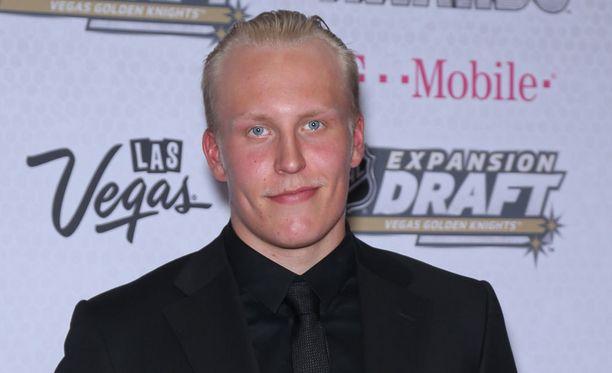Patrik Laine osallistui Jets-joukkuekaverinsa häihin Ruotsissa. Arkistokuva.