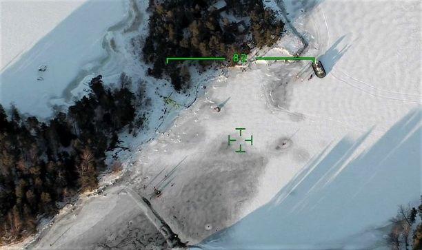 Ilmakuva osoittaa tarkan onnettomuuspaikan Temppelisalmessa Espoon edustalla.