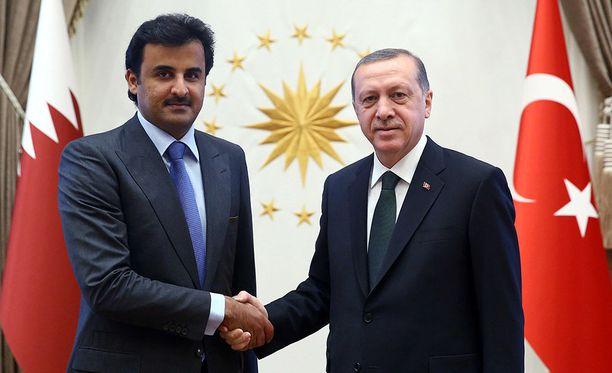 Qatarin emiiri, sheikki Tamim bin Hamad al-Thani puristamassa Turkin presidentti Recep Tayyip Erdoganin kättä maaliskuussa 2015.
