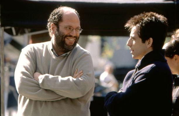 Scott Rudin ja näyttelijä Ben Stiller Zoolander-elokuvan kuvauksissa vuonna 2001.