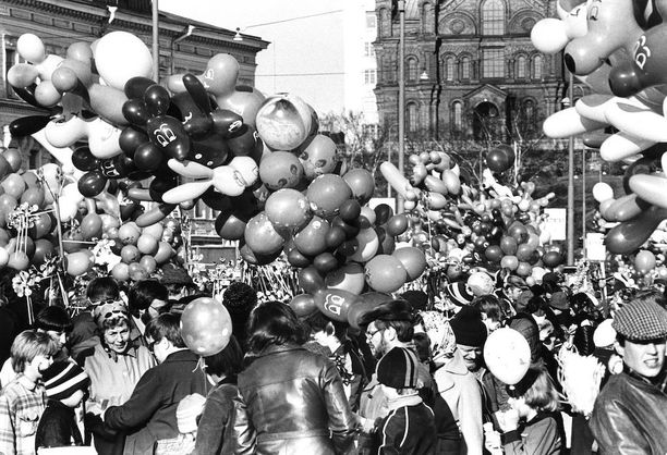 Ilmapallot kuuluivat olennaisesti vapun viettoon jo vuonna 1978.
