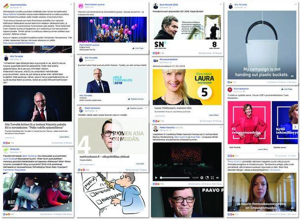 Ainakin tällaisia poliittisia mainoksia Facebookissa on näytetty suomalaisille viimeisen viikon aikana.