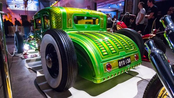 "Ford A 5-window Coupe 1930 hot rod ""Old Green A""."