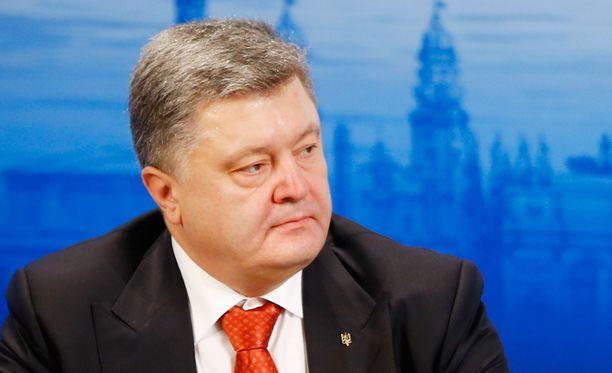 Ukrainan presidentti Petro Poroshenko puhui turvallisuuskonferenssissa lauantaina.