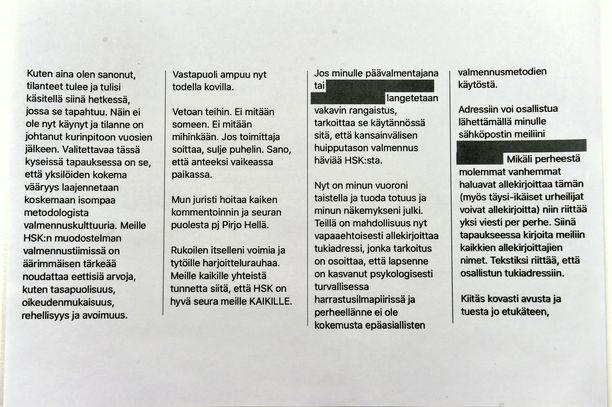 Tällaisia viestejä Mirjami Penttinen lähetti valmennettaviensa vanhemmille. Kuvasta on peitetty tunnistetietoja.