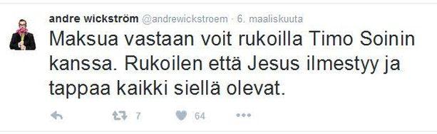 Koomikko André Wickström kirjoitti twiittinsä 6. maaliskuuta.