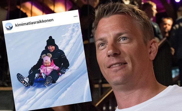 Kimi Räikkönen ja Rianna ottivat kaiken irti lumisesta talvipäivästä.