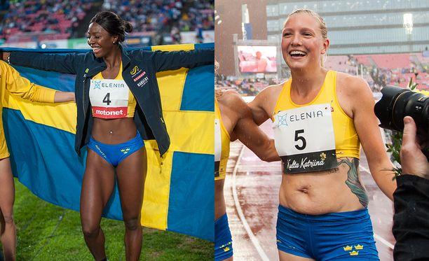 Khaddi Sagnia ja Moa Hjelmer kilpailivat elokuussa Tampereella Suomi-Ruotsi-maaottelussa.