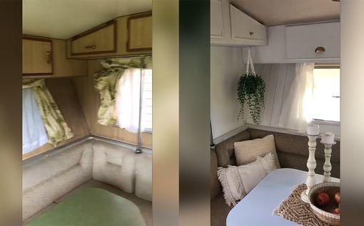 Vau, mikä muutos! Australialaisäiti nikkaroi asuntoauton uuteen uskoon – aikaa vuorokausi ja rahaa alle 300 euroa