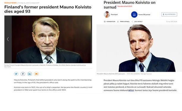 Muun muassa Reuters ja Postimees uutisoivat Koiviston kuolemasta.