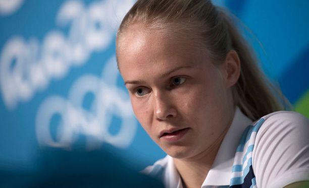 Petra Ollin olympiaurakka alkaa nigerialaisvastustajalla.