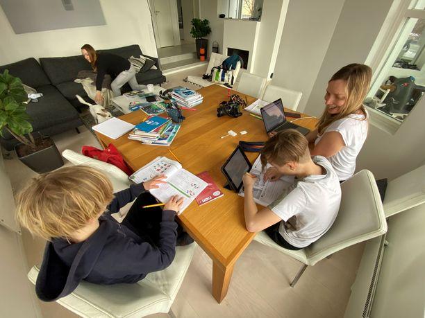 Albert ja Oliver tekevät läksyjä äidin, Maija Hollménin, valvonnassa. Julia tavoittelee pakoon pinkovaa Miisa-koiraa.