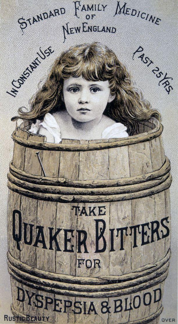 Lääkemainokset olivat vähän toista luokkaa kuin nyt. Kortti 1900-luvulta.