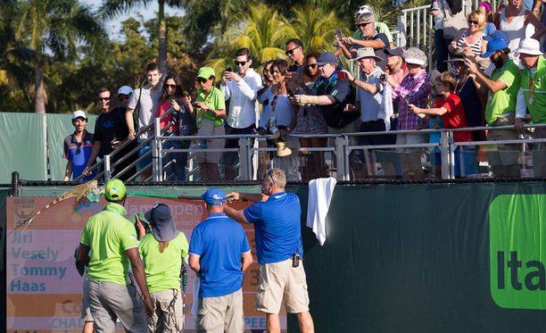 Yleisö nauroi iguaanin pelastusoperaatiolle.